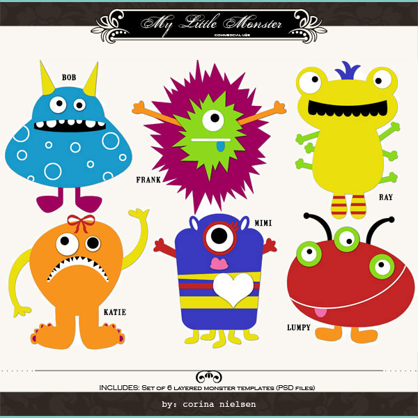 Monster Template My Little Monster Templates Corina Nielsen My