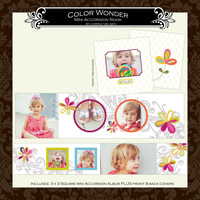 """3 x 3 Mini Accordion Album- """"Color Wonder"""""""